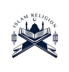 quran or koran icon holy book muslim religion vector image
