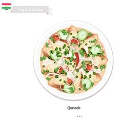 Qurutob One of Famous Dish in Tajikistan vector image