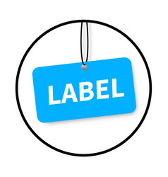 realistic blank tag tied with string vector image