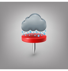 Red pin icon weather Rain cloud vector image