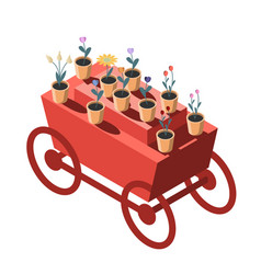 Red truck with flowers in isometry sale of vector