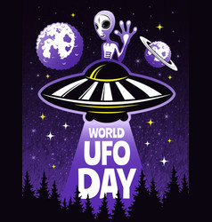 retro poster concept for world day of ufo vector image