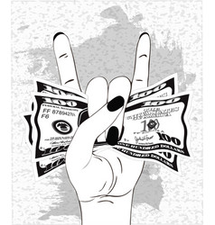 Rock-n-roll hand gesture with crumpled one vector