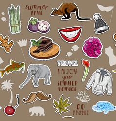 seamless patter with colorful stickers set vector image