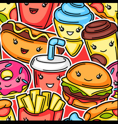 Seamless pattern with cute kawaii fast food meal vector