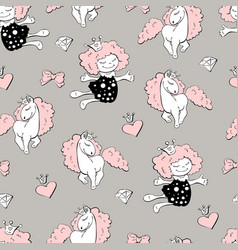 seamless pattern with unicorns donuts rainbow vector image vector image
