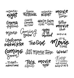 set cinema movie film doodles and trendy vector image