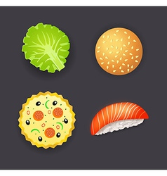 Set of dinner pizza burger sushi and salad leaf vector image