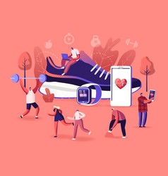 Smart shoes concept tiny characters sportsmen and vector