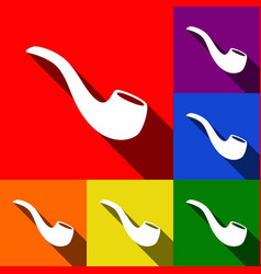 smoke pipe sign set of icons with flat vector image