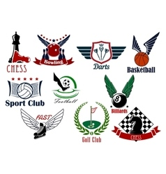 Sporting game or team emblems in retro style vector