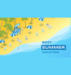 summer vacation flat banner template vector image