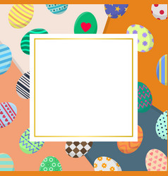template easter card with colorful eggs vector image