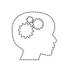 thinking head sign black dashed icon on vector image