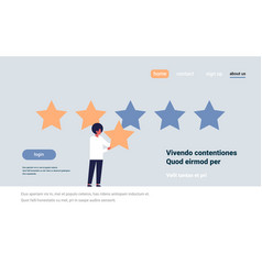 three star rating man giving feedback concept vector image