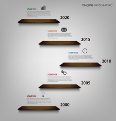 Time line info graphic with wooden shelves on the vector