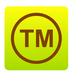 Trade mark sign brown icon at green vector