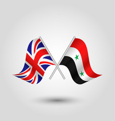 Two crossed british and syrian flags vector