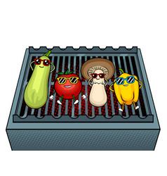 Vegetables on bbq pop art vector