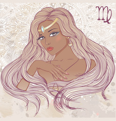 Virgo as a portrait of beautiful african girl vector image