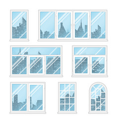 Windows with city vector