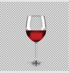 Wine glass with red wine transparent vector