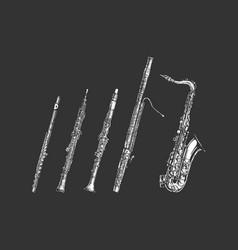 Woodwind musical instruments set vector