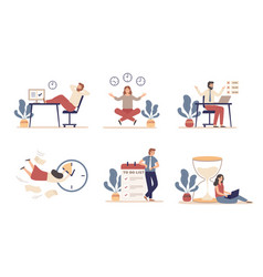 working time planning work schedule organize vector image