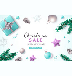 Xmas flat lay poster with decorations snowflakes vector