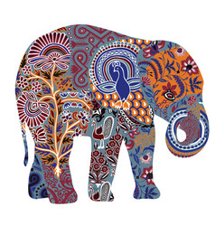 decorated elephant on a white background vector image vector image