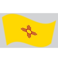 Flag of New Mexico waving on gray background vector image vector image