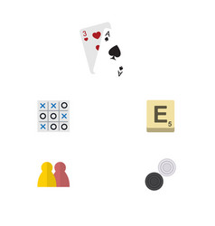 flat icon entertainment set of mahjong people x vector image