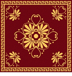Gold and red Greek ornament Meander vector image vector image
