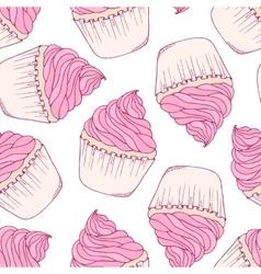Hand drawn cupcake seamless pattern vector image