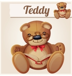 Teddy bear in glasses read the book vector image vector image