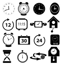 Time alarm clock icons set vector image