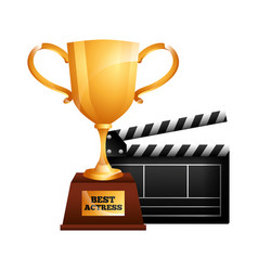 Best actress trophy cup and clapper film vector