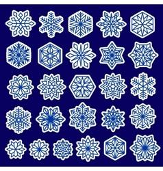 Blue Snowflakes Set Stickers Design vector image