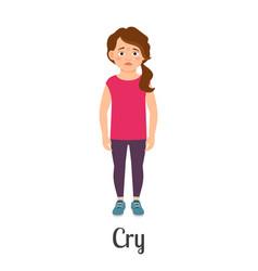cartoon little girl crying vector image vector image