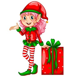 Elf and gift vector image vector image