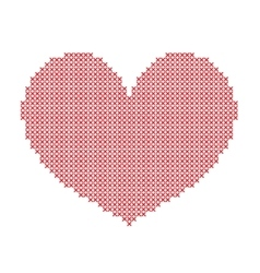 Hand-made big red heart embroidered with a cross vector image