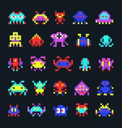 space aliens vintage video computer arcade game vector image