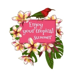 Summer hand drawn floral vintage card with vector image vector image