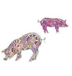 two ethnic pigs vector image vector image