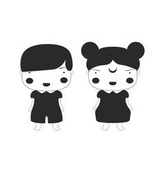 Vampire girl and boy kids black lines cartoon vector