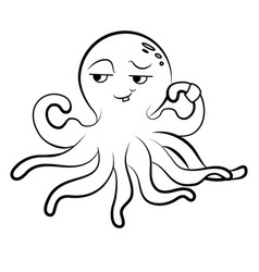 coloring cute octopus octopus athlete vector image