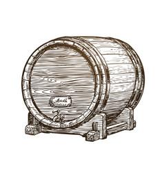hand drawn vintage wooden wine cask drink oak vector image