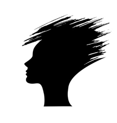 head of the woman silhouette of the hair style vector image vector image