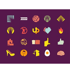 set of icons logos vector image