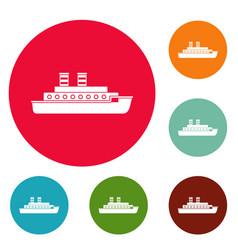 Steamship icons circle set vector